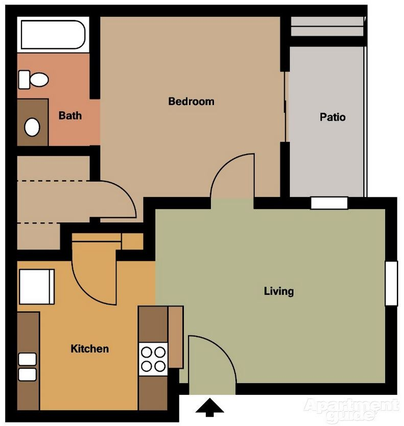 One Bedroom / One Bath - 533 Sq. Ft.*