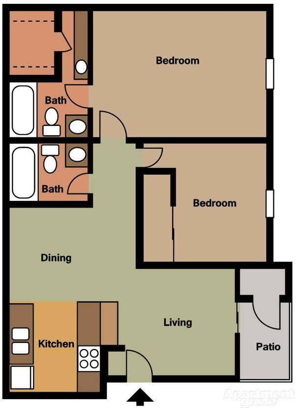 Two Bedroom / Two Bath - 978 Sq. Ft.*