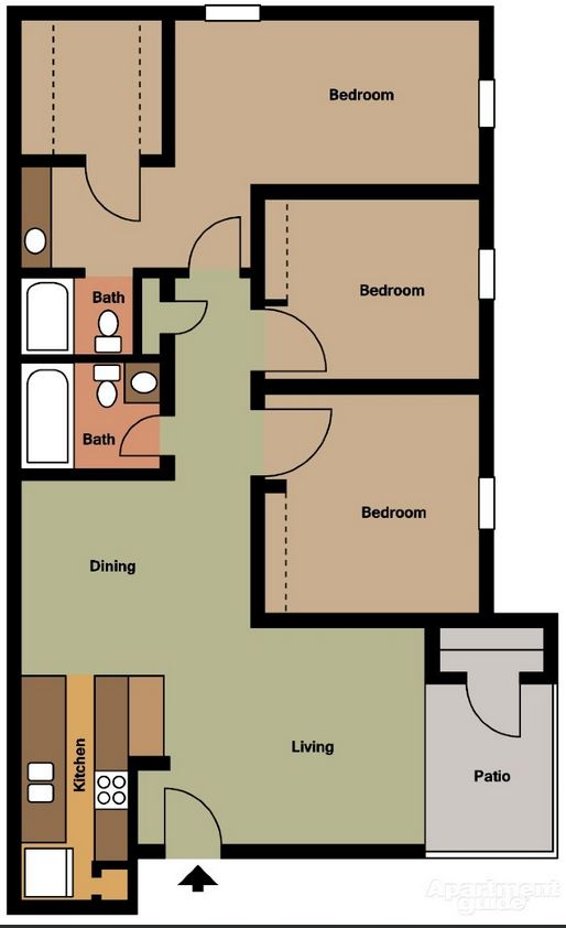 Three Bedroom / Two Bath - 1,202 Sq. Ft.*